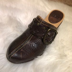 """Frye Shoes - Brown Frye Heeled """"Candice"""" Woven Clogs"""